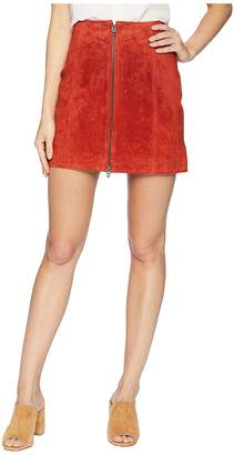 Blank NYC Red Suede Zippered Mini Skirt in Redwood Women's Skirt