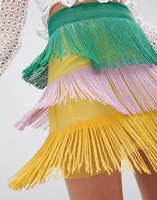 Asos Design DESIGN tiered mini skirt in multi coloured embellishment