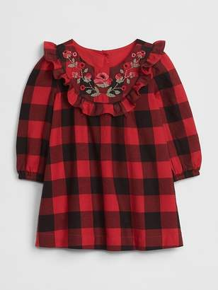 Gap Embroidered Plaid Dress