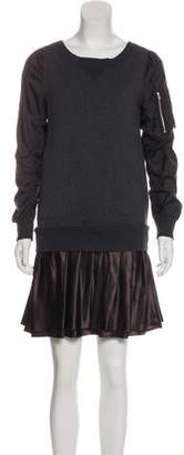 Sacai Luck Ruffle-Accented Mini Sweater Dress