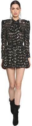 Saint Laurent Paisley Silk Crepe Dress W/ Lurex Detail