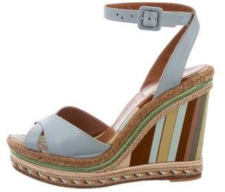 Valentino Ankle Strap Leather Wedges