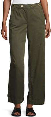 Theory Namid TS Washed Chino Wide-Leg Pants, Green