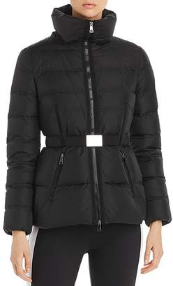 Moncler Alouette High-Collar Belted Down Coat