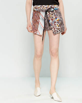Carven Printed Wrap-Front Silk Shorts