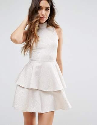 PrettyLittleThing Jacquard Ruffle Skater Dress