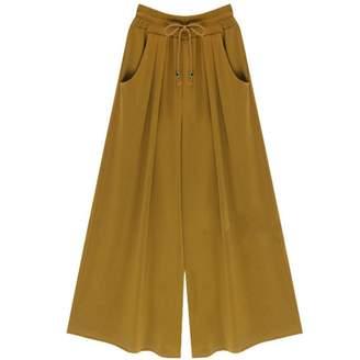 EsTong Womens Wide Leg Drawstring Casual Palazzo Elastic Pants Dark Green (Ankle Length) 6XL