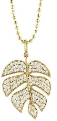 Sydney Evan Monstera Leaf Necklace - Yellow Gold