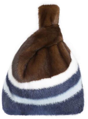 Simonetta Ravizza Furrissima W2 Stripe Mink Fur Shopper Tote Bag