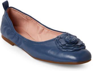 Taryn Rose Denim Blue Rosalyn Leather Ballet Flats