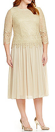 Alex Evenings Alex Evenings Plus Mock Dress with Illusion Sleeves