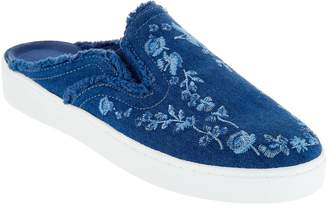 Isaac Mizrahi Live! Denim Embroidered Mule Sneakers