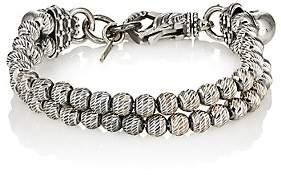 Emanuele Bicocchi Men's Sterling Silver Beaded Double-Strand Bracelet-Silver