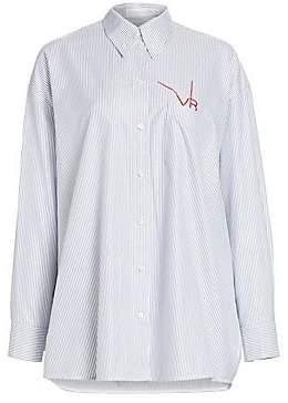 Victoria Beckham Women's Stripe Logo Stitch Oxford Button-Down Shirt