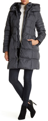 DKNY Hooded Down 3/4 Length Puffer Parka Coat $270 thestylecure.com
