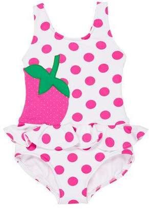 Florence Eiseman Polka-Dot Ruffle Strawberry One-Piece Swimsuit, Size 2-6X