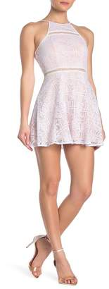 Jump Crochet Panel Skater Mini Dress
