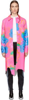 Christopher Kane Pink Leather Jumbo Floral Coat