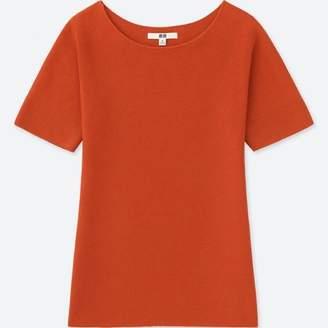 Uniqlo WOMEN 3D Cotton Crew Neck Short Sleeve Sweater