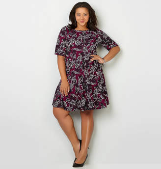 Avenue Texture Floral Print Skater Dress