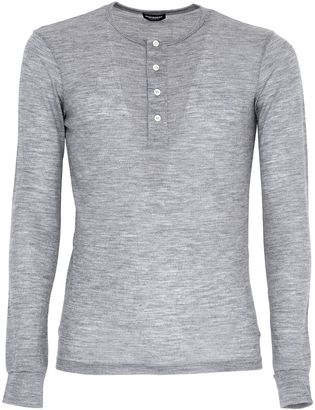 Stretch Wool Jersey Henley T-Shirt $250 thestylecure.com