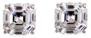 Diamonique 4.00 ct tw Asscher Stud Earrings, 14K Gold
