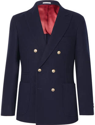 Brunello Cucinelli Navy Unstructured Double-Breasted Wool and Cashmere-Blend Blazer - Navy