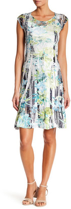 KOMAROV Printed Cap Sleeve Lace Dress $278 thestylecure.com