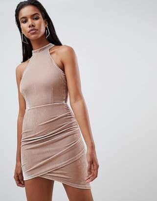 Rare London halter velvet mini dress