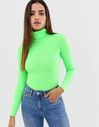 PrettyLittleThing roll neck long sleeve body in neon green