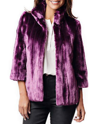 Fabulous Furs Ultraviolet Faux Fur Evening Coat