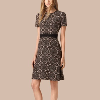 Burberry  Burberry Lace Print Silk Shift Dress