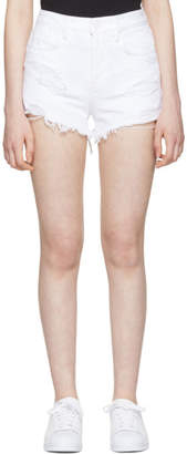 Alexander Wang White Destroyed Denim Bite Shorts