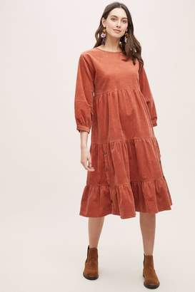 Anthropologie Oreley Tiered-Corduroy Dress