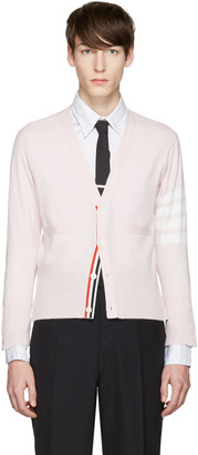 Thom Browne Pink Classic Short V-Neck Cardigan $1,750 thestylecure.com