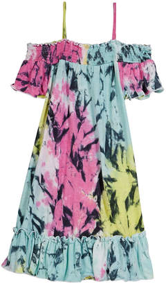 Flowers by Zoe Smocked Ruffle Tie Dye Dress, Size S-XL