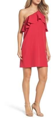 Charles Henry Ruffle One-Shoulder Dress