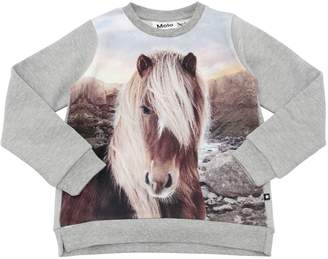 Molo Horse Print Cotton Sweatshirt