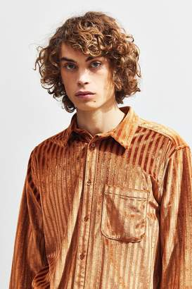 Urban Outfitters Striped Velour Button-Down Shirt