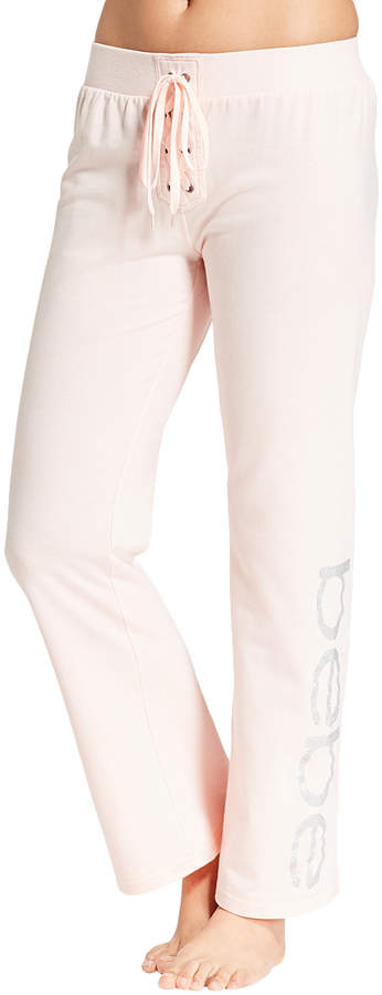 Light Pink 'Bebe' Lace-Up Drawstring Pants - Women