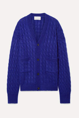 Matthew Adams Dolan - Oversized Cable-knit Mohair-blend Cardigan - Indigo