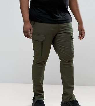 Asos Design PLUS Super Skinny Fit Pants with Zip Cargo Pockets in Khaki
