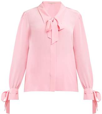 Graphic-print pussy-bow silk blouse Marco De Vincenzo Cheap Sale Supply Order Sale Online Recommend For Sale PXId4y