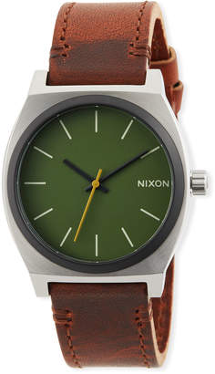 Nixon 37mm Time Teller Leather Watch, Brown/Green