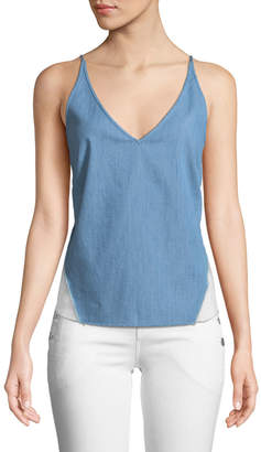 J Brand Lucy V-Neck Chambray Cami Top