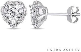 Laura Ashley FINE JEWELRY Laura Asley 1/3 CT. T.W. Genuine White Diamond 8.6mm Stud Earrings