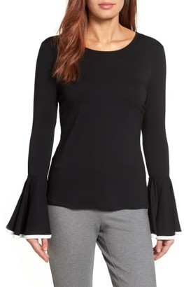 Women's Vince Camuto Tipped Bell Sleeve Top $69 thestylecure.com