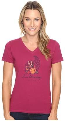 Life is Good Love This Day Cornucopia Crusher Vee Women's T Shirt