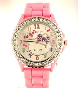 Hello Kitty Pavel Time Watch Hot Pink Silicone Band Crystal Dial Girls Watch Model number 1072 Incl. Candy Wax Bottle 5 Pack .