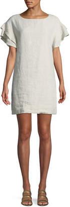 Finley Butterfly-Sleeve Shift Linen Dress